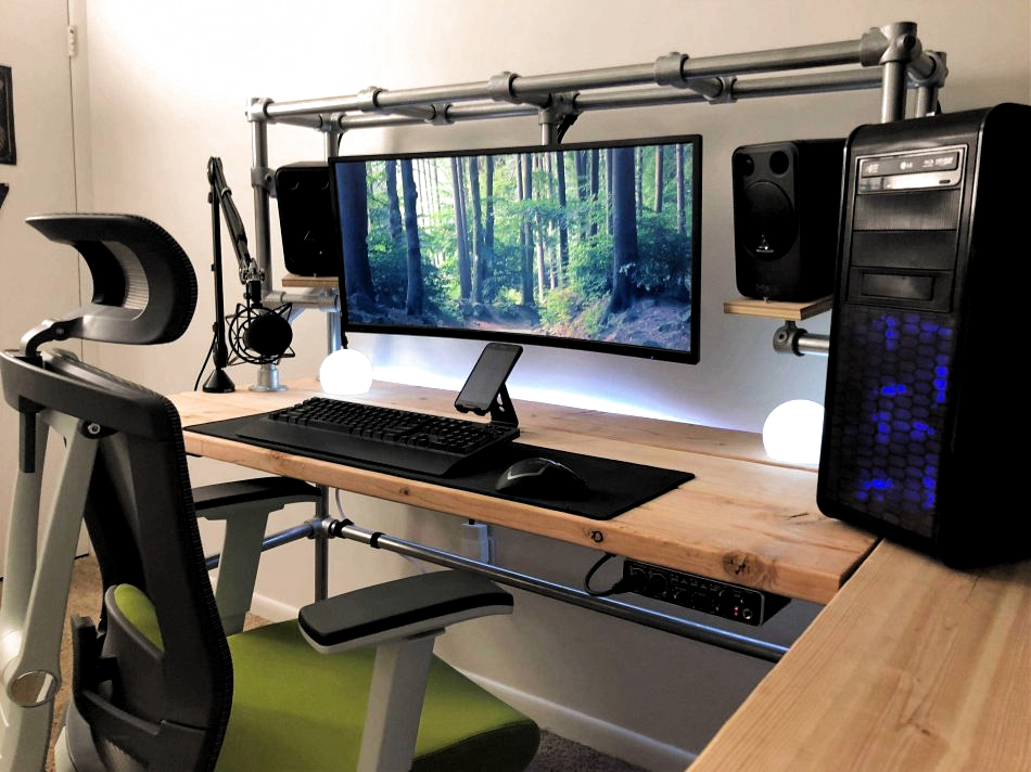Streaming Desk For Twitch Diy Build Diary With Plans Hi Im Ethan Thompson In 2020 Diy Computer Desk Gaming Desk Gaming Computer Desk