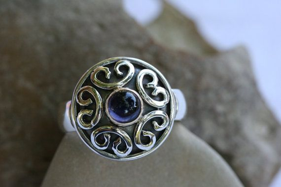 Handcrafted Ring, Hayolite  Ring , Silver  Ring, Solid Silver & Gold Ring, Gemstone Ring,Silver Jewelry