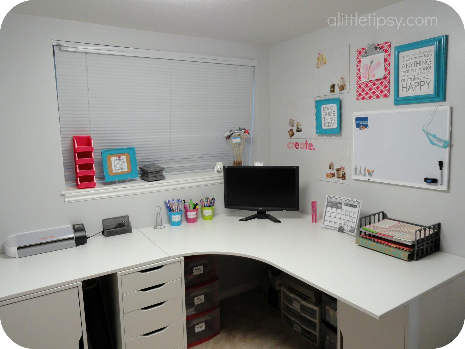 Corner desk using ikea galant top and alex drawer units for Ikea galant bureau debout hack