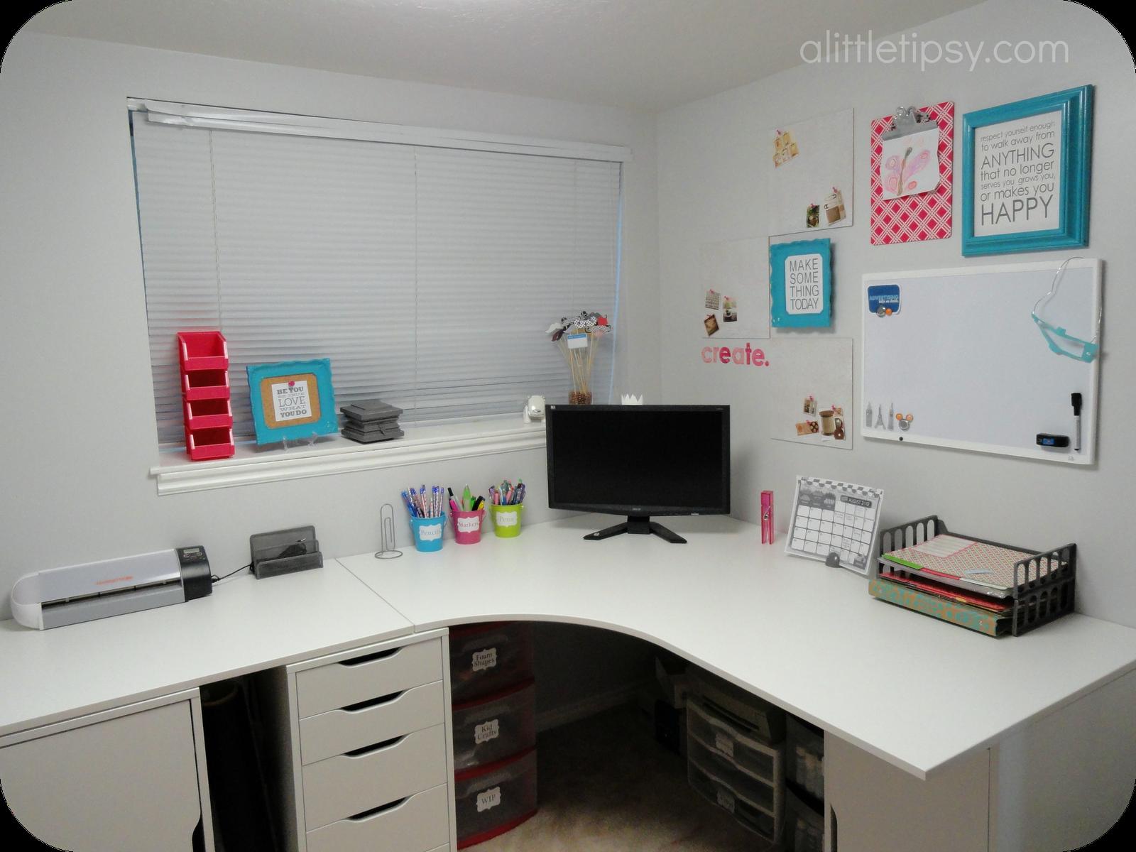 A Little Tipsy Craft Room Reveal Ikea Corner Desk Ikea Galant