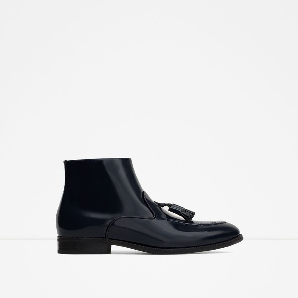 SMART LEATHER ANKLE BOOTS WITH TASSELS