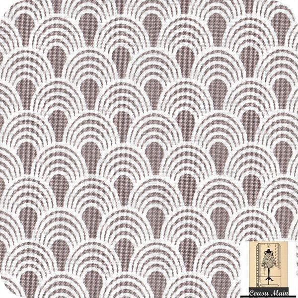Tissu coton motifs japonais vagues blanches sur fond gris for Ameublement japonais