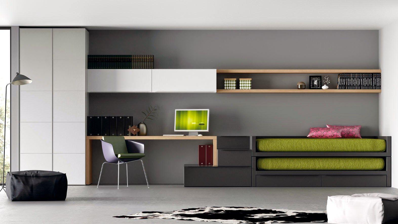 Dormitorio juvenil con cama compacto gris dormitorios en for Muebles pepe jesus dormitorios juveniles