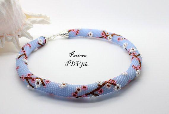 Bead crochet necklace pattern Bead crochet pattern Beadwork graph ...