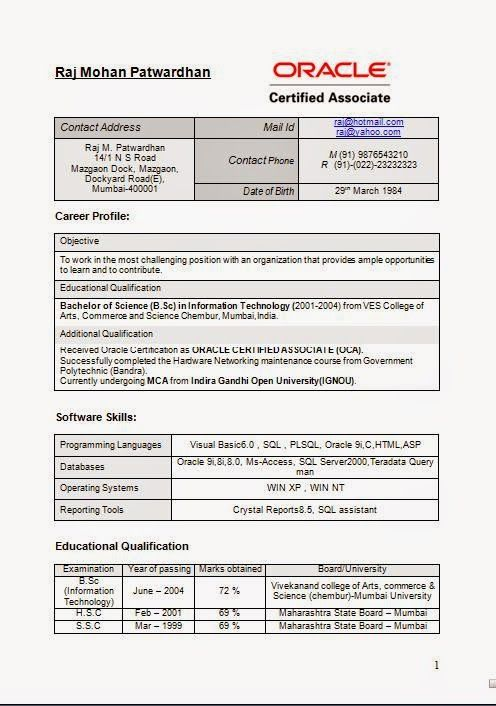 good biodata format Sample Template Example of ExcellentCV / Resume