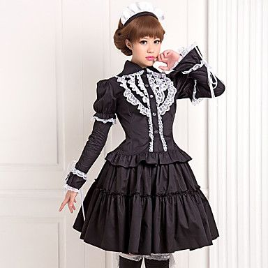 White Lace Black Long Sleeve Blouse Knee-length Skirt Cotton Antique Classic Lolita Outfit
