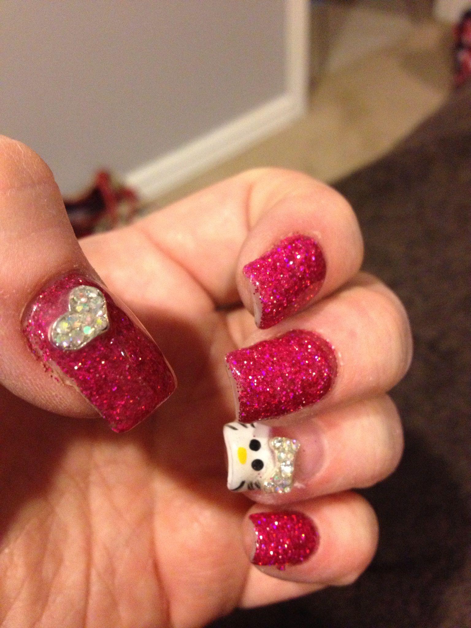 Hello Kitty Glitter Gel Valentine Nails Nail Designs Pinterest