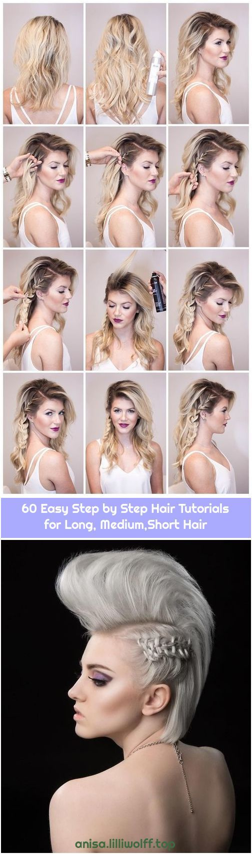 60 Easy Step by Step Hair Tutorials for Long, Medium,Short Hair #sidebraidhairstyles