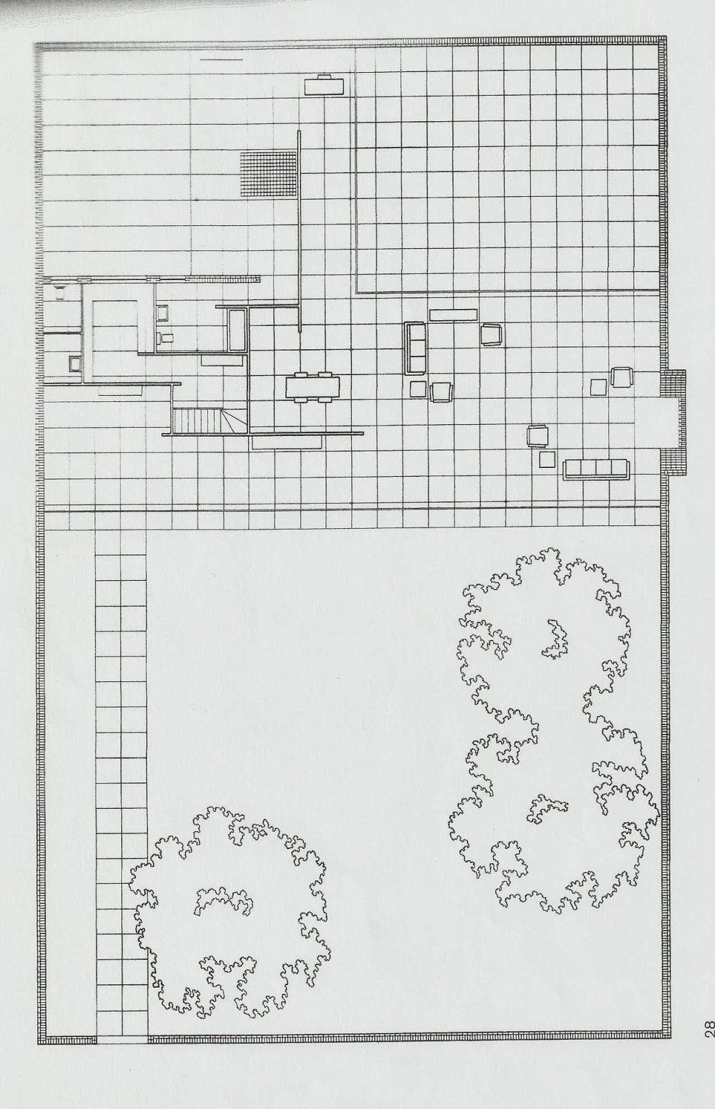 Projet réalisé par mies van der rohe maison à patios plan et façade
