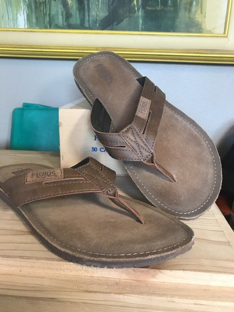 c652b3db9e7947 Flojos Alonzo Men s Comfort Flip Flops Sandals Shoes Size 11 Cognac ...