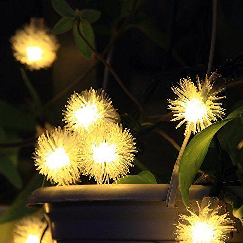 InnooTech 20er LED Solar Lichterkette Garten Kugel Au en Warmwei