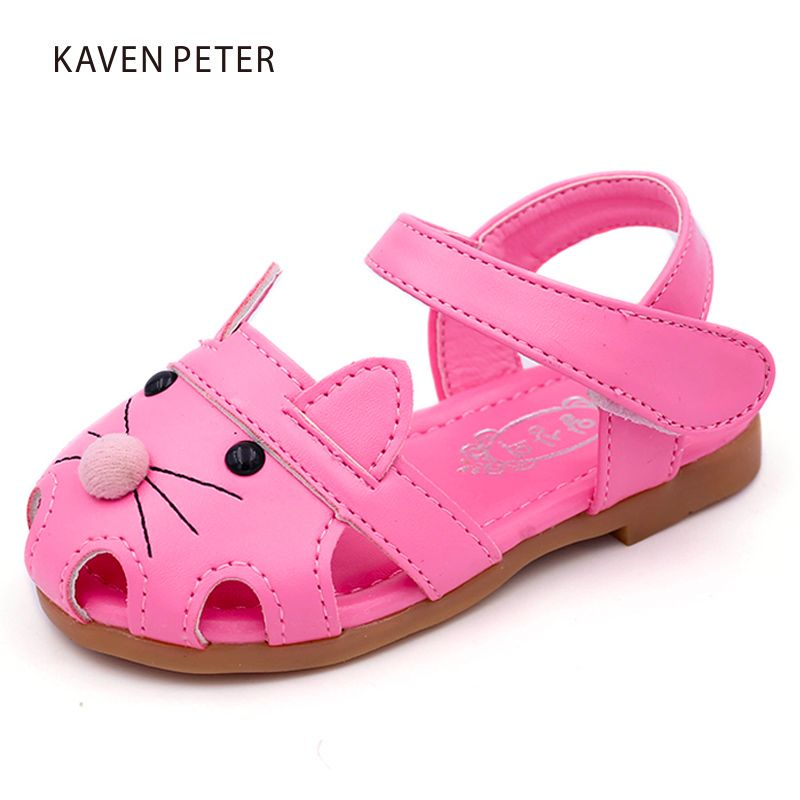 a73586f37750 Children beach sandals girls summer shoes Mouse face cut outs closed toe  flat sandals toddler girl