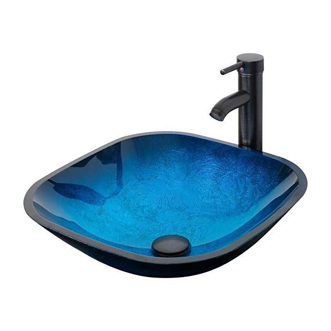Eclife Ocean Blue Square Bathroom Sink Artistic Tempered Glass