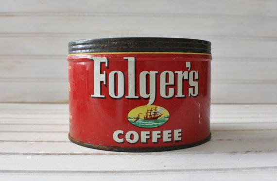 Vintage Metal Folgers Coffee Can Tin Rusty On Etsy 7 00