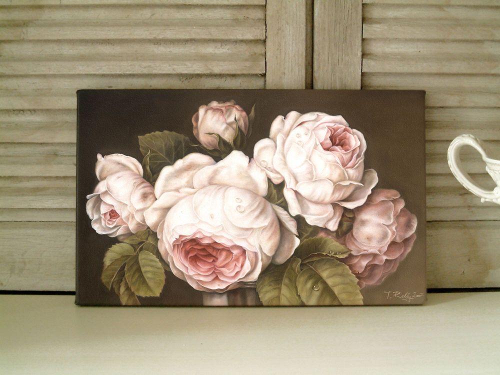 Rosen Bild Gemlde Shabby Chic rose braun Landhaus Vintage