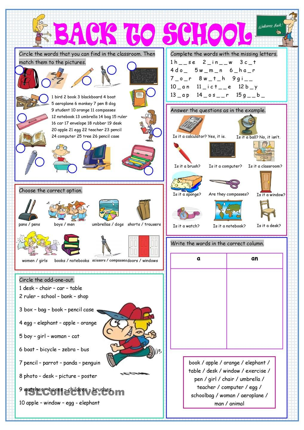 Back to School | worksheets, activities | Pinterest | Englisch ...