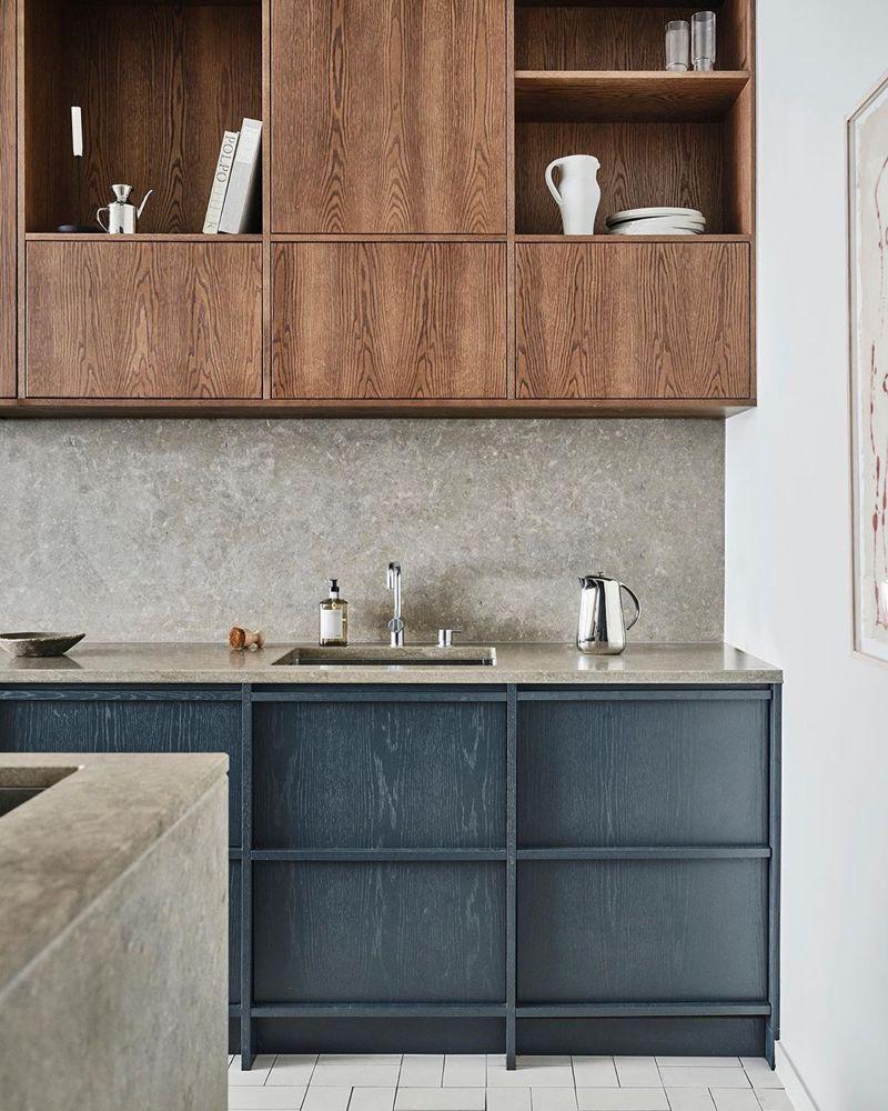 Nordiska Kok Nordic Kitchens On Instagram Our Oak Kitchen With Bespoke Shelf Cabinets In Stained Oak Creat Oak Kitchen Grey Kitchen Colors Kitchen Interior