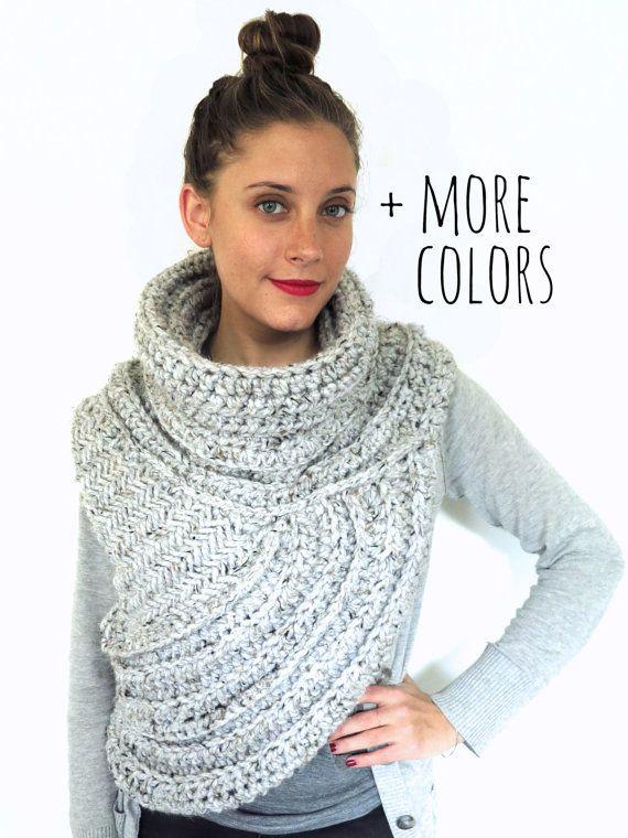 Knitting Pattern Cable Knit Cowl Vest : Knitting/Crochet Pattern // Asymmetric Cowl Vest Shawl Scarf One Armed // Hun...