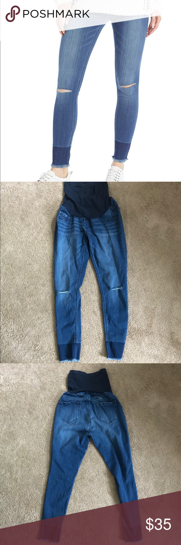 a81de73b358f1 Indigo Blue Maternity Jeans Only wore once. Secret Fit Belly Band. SUPER  soft and stretchy! Skinny ankle jeans. I am a size 10/12 regularly in jeans  and ...