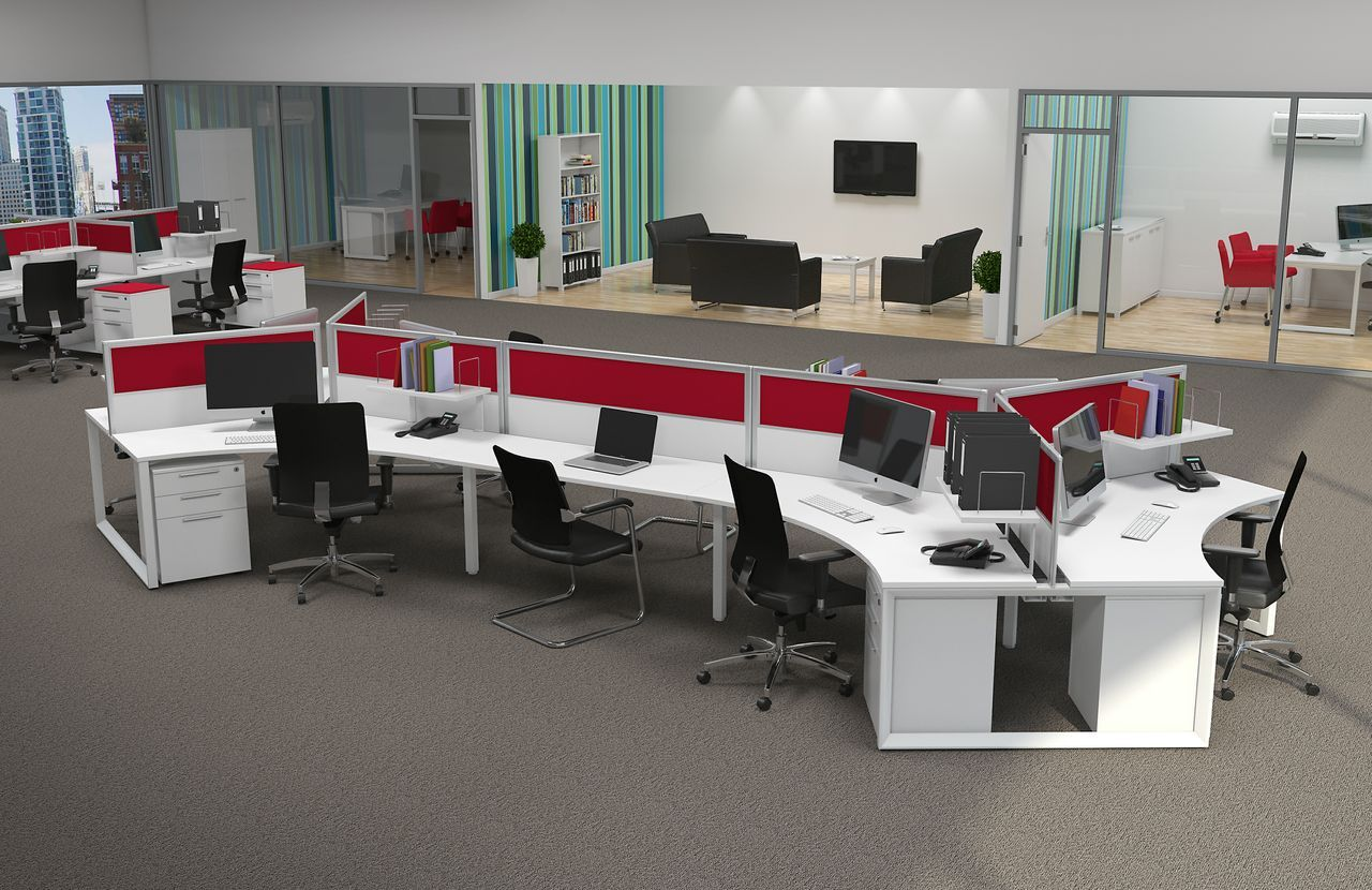 Contemporary multiple office workstations for open space for Modern office space layout