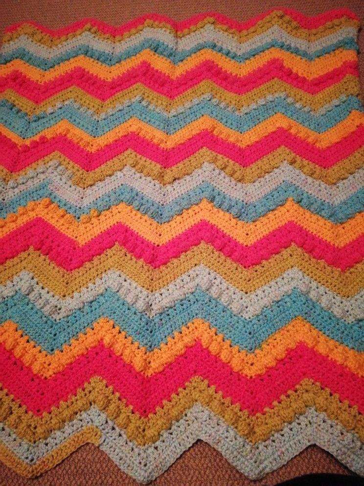Hugs And Kisses Baby Blanket In Caron Cakes Rainbow Sherbet