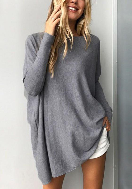 c7eabcf2 Grey Round Neck Long Sleeve Loose Casual T-Shirt   Women Fashion ...