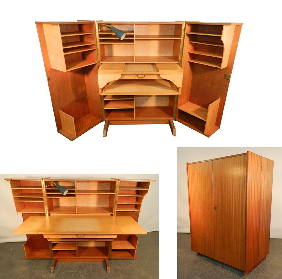 Compact Home Office Desk 1950 Acajou Et Bois Clair Lampe D  # Meubles Modernes En Acajou
