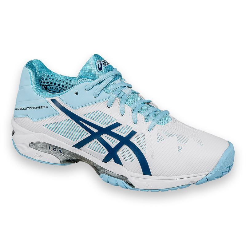 2016 Asics Gel Solution Speed 3 Womens Tennis Shoe - White/Crystal Blue