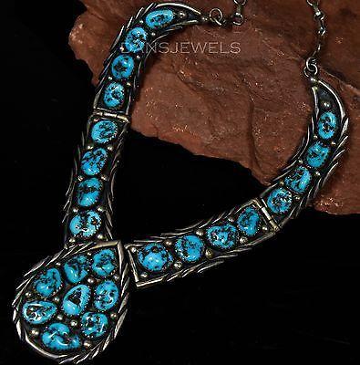 Vintage-Old-Pawn-Navajo-Gem-Grade-Kingman-TURQUOISE-Sterling-Handmade-Necklace