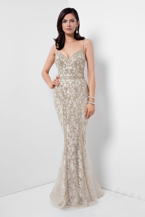 4363333b138 Buy the Gorgeous Beaded V-Neck Mermaid Gown 1621GL1907 by Terani Couture at  CoutureCandy.com