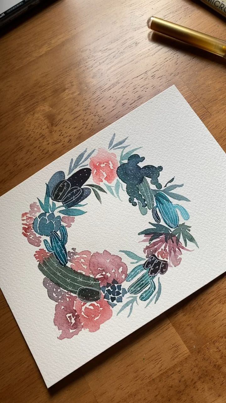 Watercolor floral wreath #artanddrawing