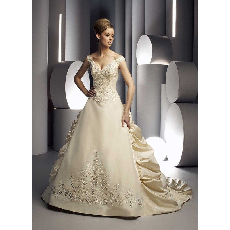 wedding dresses with color embroidered champagne gold color wedding dresses with long - Gold Color Dress