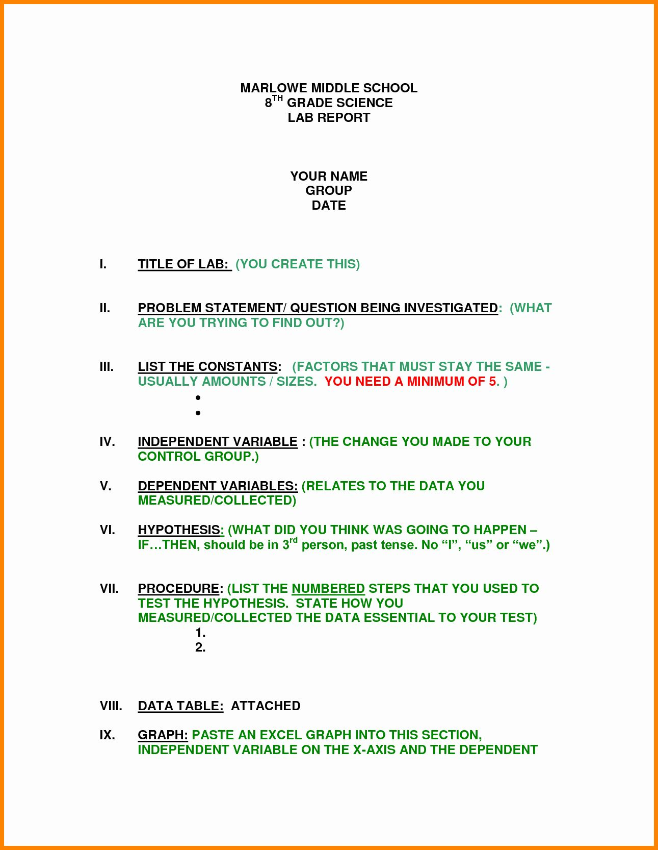 Middle School Science Lab Report Template In Lab Report Template