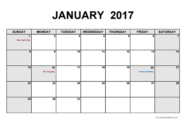 2017 Monthly Calendar Pdf Free Printable Templates Computer Ease
