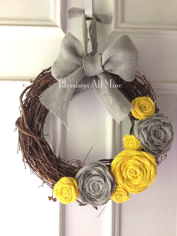14 inch Grapevine Wreath Burlap Yellow & Gray by..