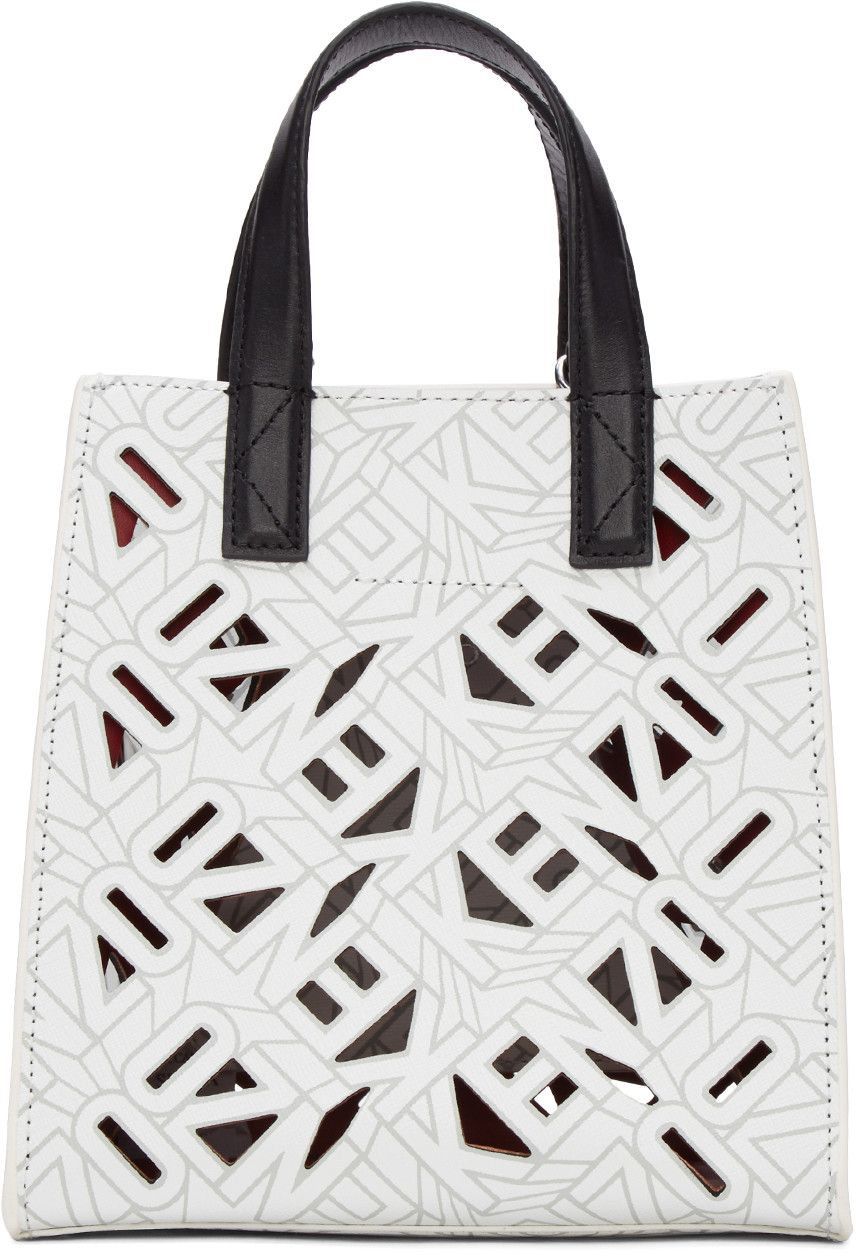 67b7e7b2f74 KENZO White Flying Logo Tote. #kenzo #bags #shoulder bags #hand bags # leather #tote #lining #