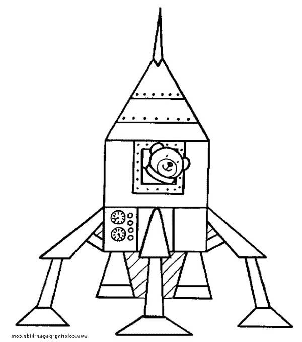 Teddy Bear Inside Rocket Ship Coloring Page Download Amp Print