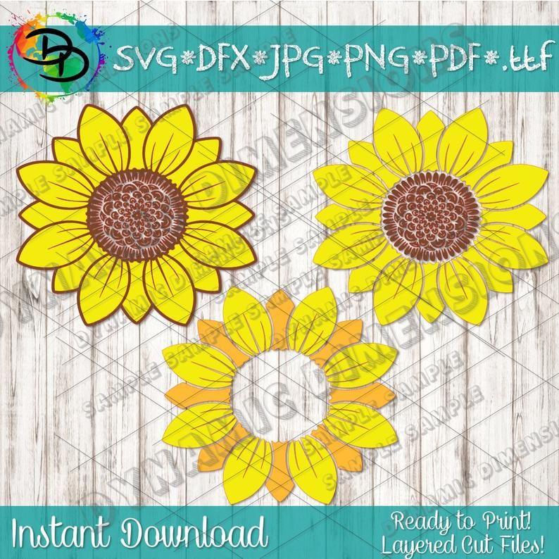 Sunflower Svg Flower Svg Monogram Svg Grunge Sunflower Etsy