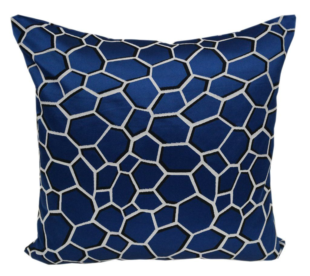 satin poly chancy geometric pillow in blue  products in and blue - satin poly chancy geometric pillow in blue
