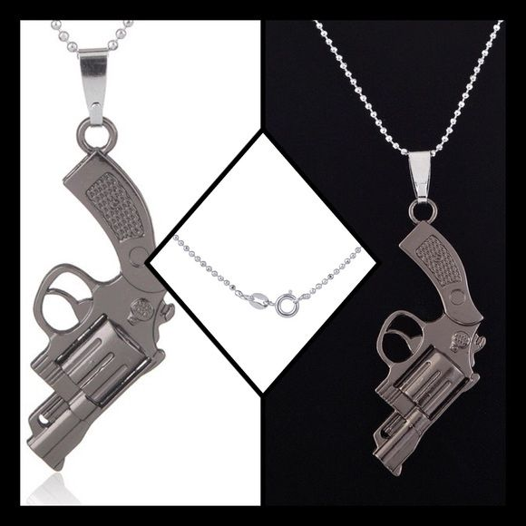 "Gray Gun Necklace Gunmetal color gun necklace. Material: zinc alloy. Chain length: 18"" Jewelry Necklaces"