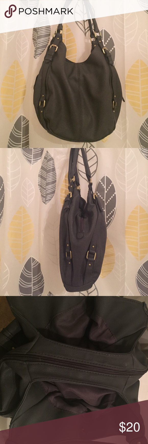 Merona Collection Large Hobo Faux leather bag Leather Grey Merona Medium sized bag has 4 inside pockets 2 zippers and other two pockets have buttons that are magnetic. Farley new only used a few times. Bags Shoulder Bags