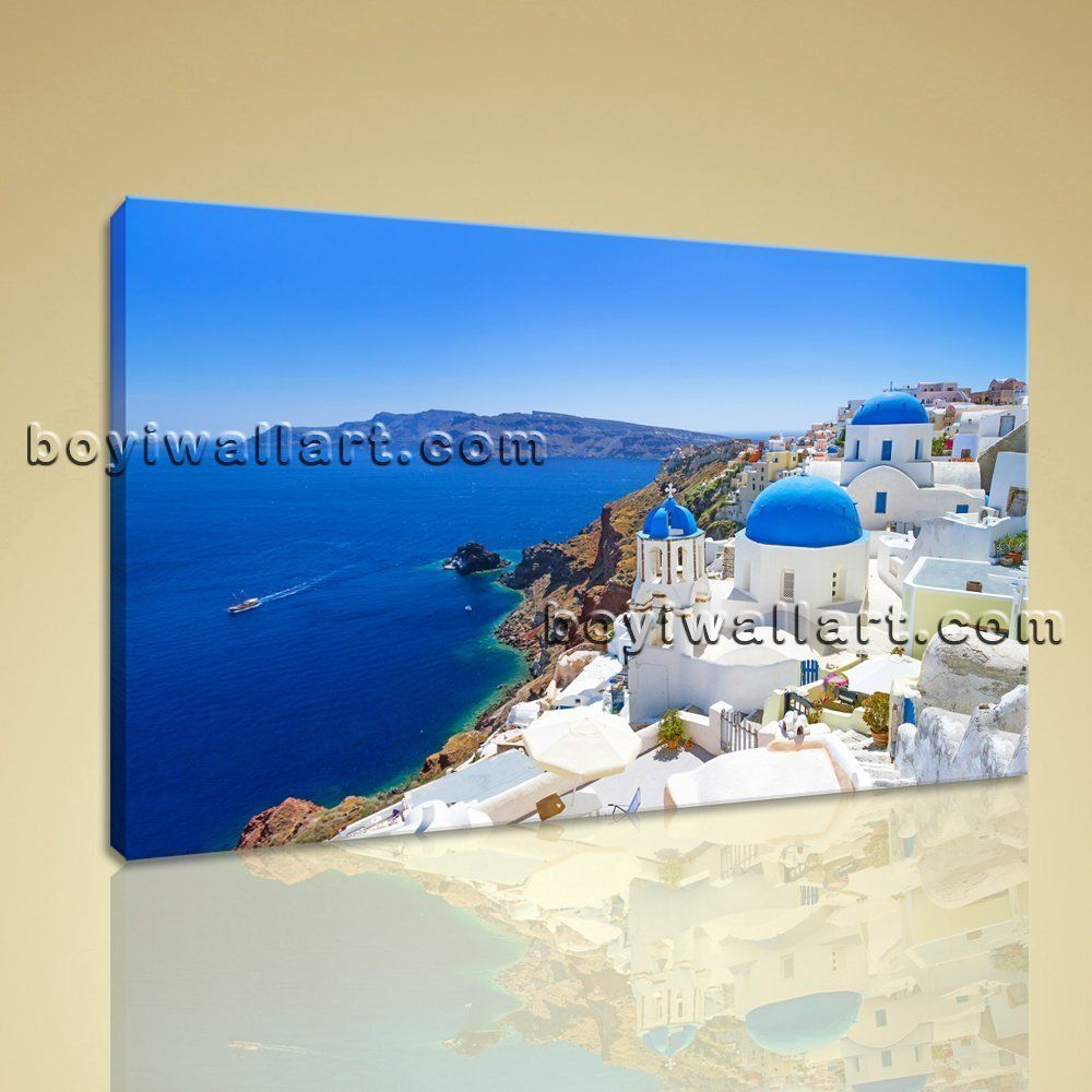 large santorini island greece landscape wall art print on canvas