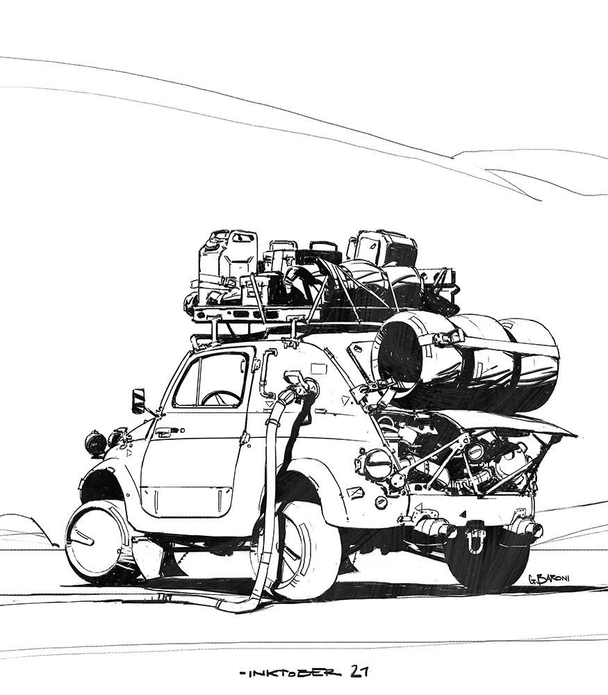 Rhubarbes Artstation Inktober2017 Week03 By Giorgio Baroni 乗り物 イラスト 車の絵 車 イラスト