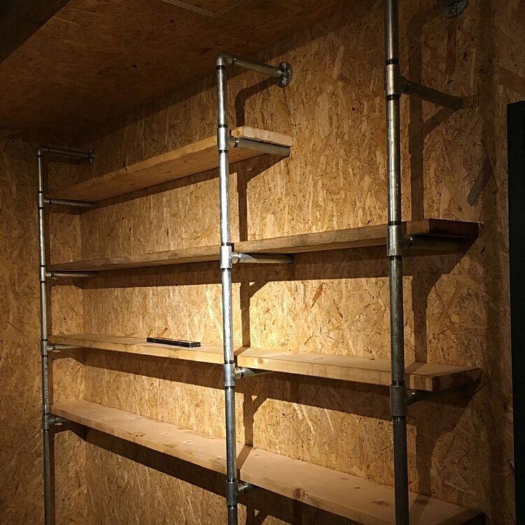 壁 天井 配管 ガレージ 合板 事務所 などのインテリア実例 2017 03