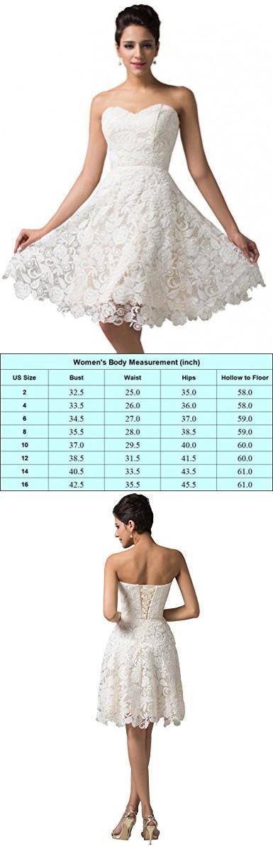 2015 Elegent Strapless Lace & Satin Short Prom Dresses,Ivory,14 ...