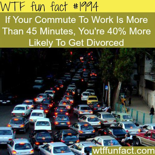 If your commute to work is more than 45 minutes, you're 40% more likely to get divorced