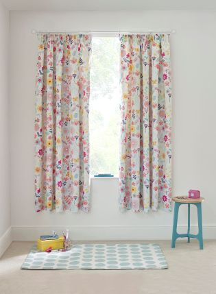 Painterly Botanical Cotton Rich Blackout Pencil Pleat Curtain From The Next Uk Online
