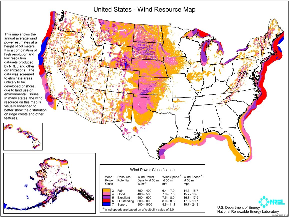 United States Ndash Wind Resource Map Obtained From Nrel Click The