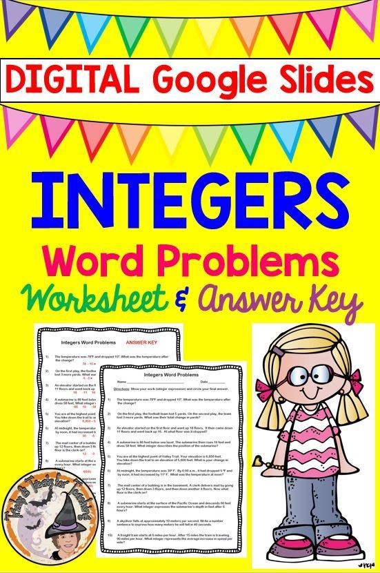 Integers Word Problems DIGITAL for Google Slides Worksheet