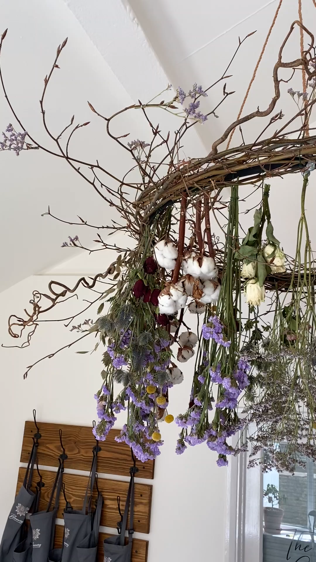 Dried flower chandelier created near Broadway, Cotswolds, Worcestershire